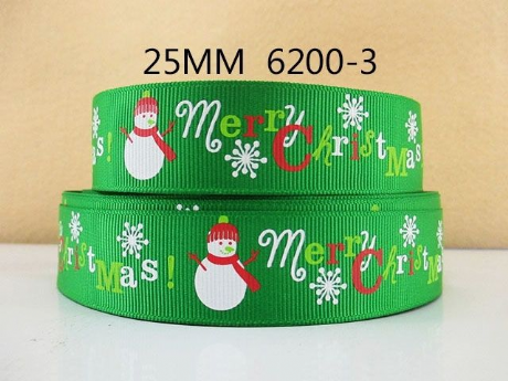 1M OF GREEN SNOWMAN MERRY CHRISTMAS RIBBON IN SIZE INCH XMAS HEADBANDS BOWS CARD MAKING